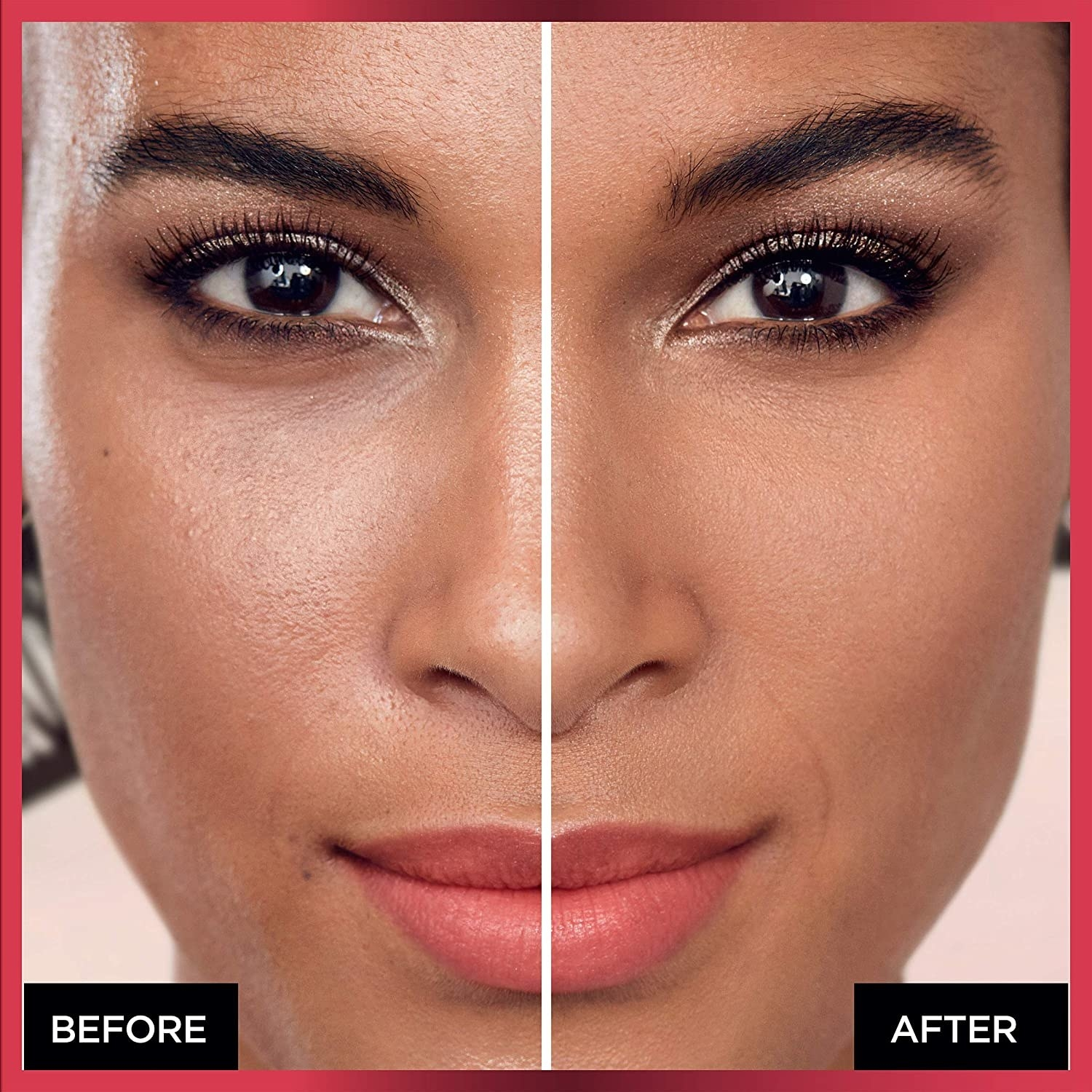 before and after of model wearing the foundation