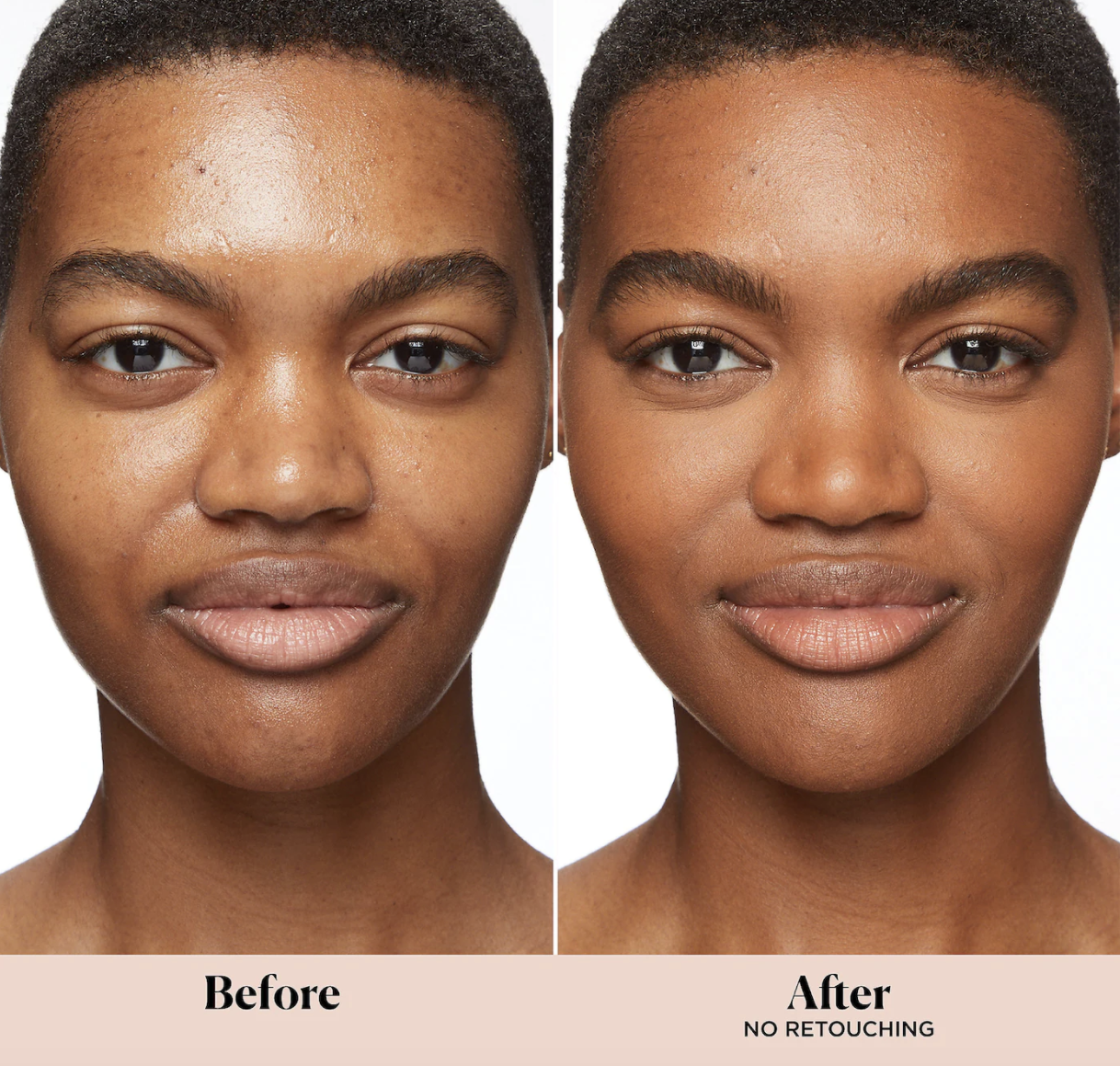 Model with before and after applying the tinted moisturizer