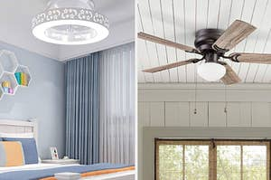 left: bladeless ceiling fan with star cutouts on the ceiling. right: five-blade fan mounted on ceiling
