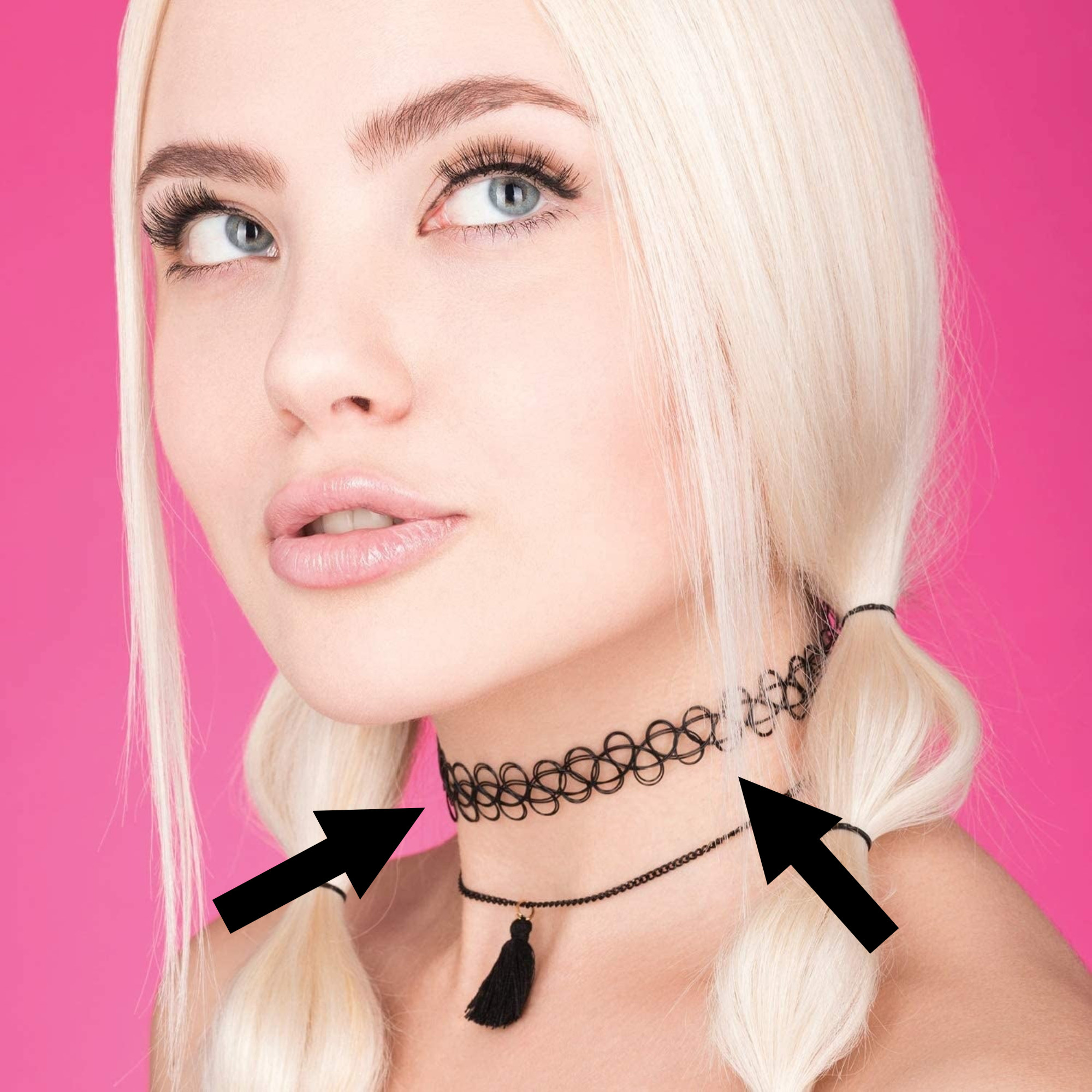 a person with a 90s hair style wearing a stretchy choker layered with a thin necklace