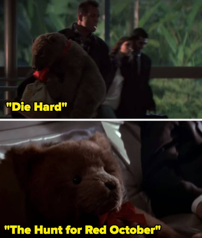15 Props Used In More Than One Movie The Die Hard and The Hunt for Red October have used a 'Teddy Bear' wearing a red bow.15 Props Used In More Than One Movie