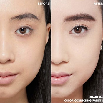 model before and after applying the color correctors, with a more evened-out complexion after