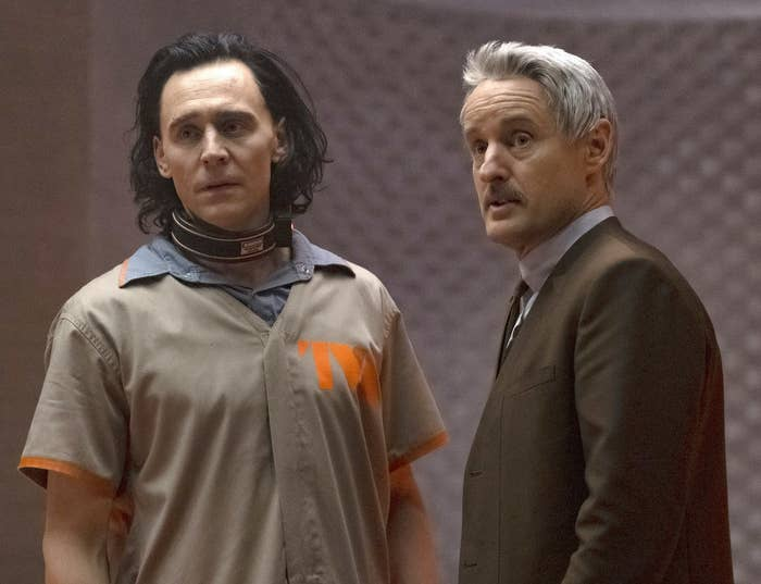Loki under the arrest of the TVA while talking to Mobius