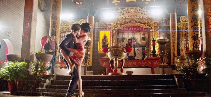 """A romantic embrace on set of 2018's """"Crazy Rich Asians"""""""