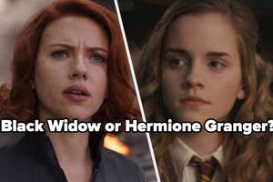 Natasha Romanoff look up to the sky while there black soot on her face and Hermione Granger looks off to the side while wearing her Gryffindor tie. The question,