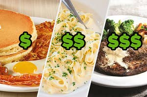 Denny's pancake breakfast, Fettuccini Alfredo from Cheesecake Factory, And Chili's steak meal