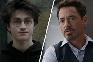 Harry Potter looks into the distance with his lips held tight and Tony Stark is mid sentence as he wears a black vest over a button up shirt.