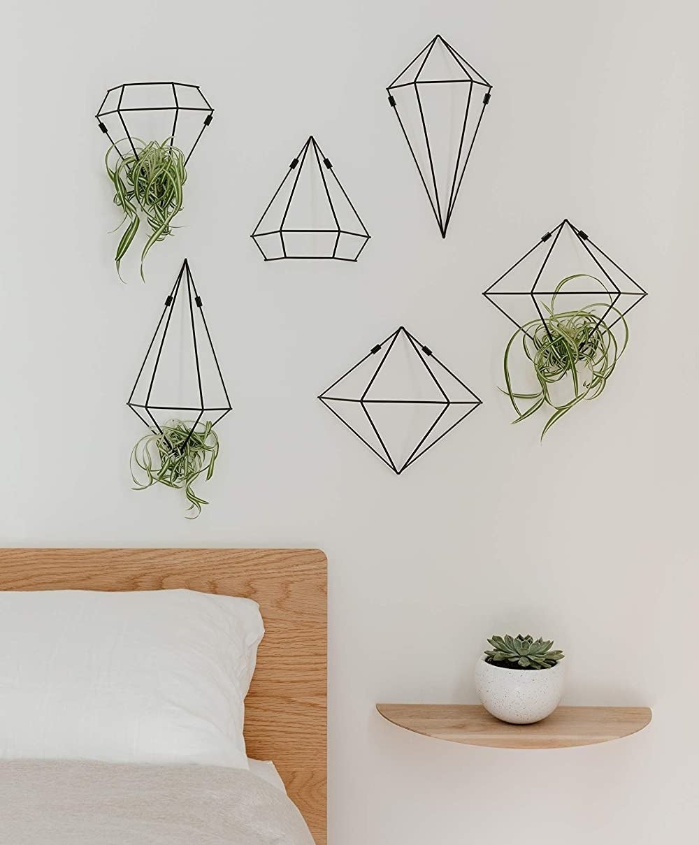 The prisms on a wall above a bed