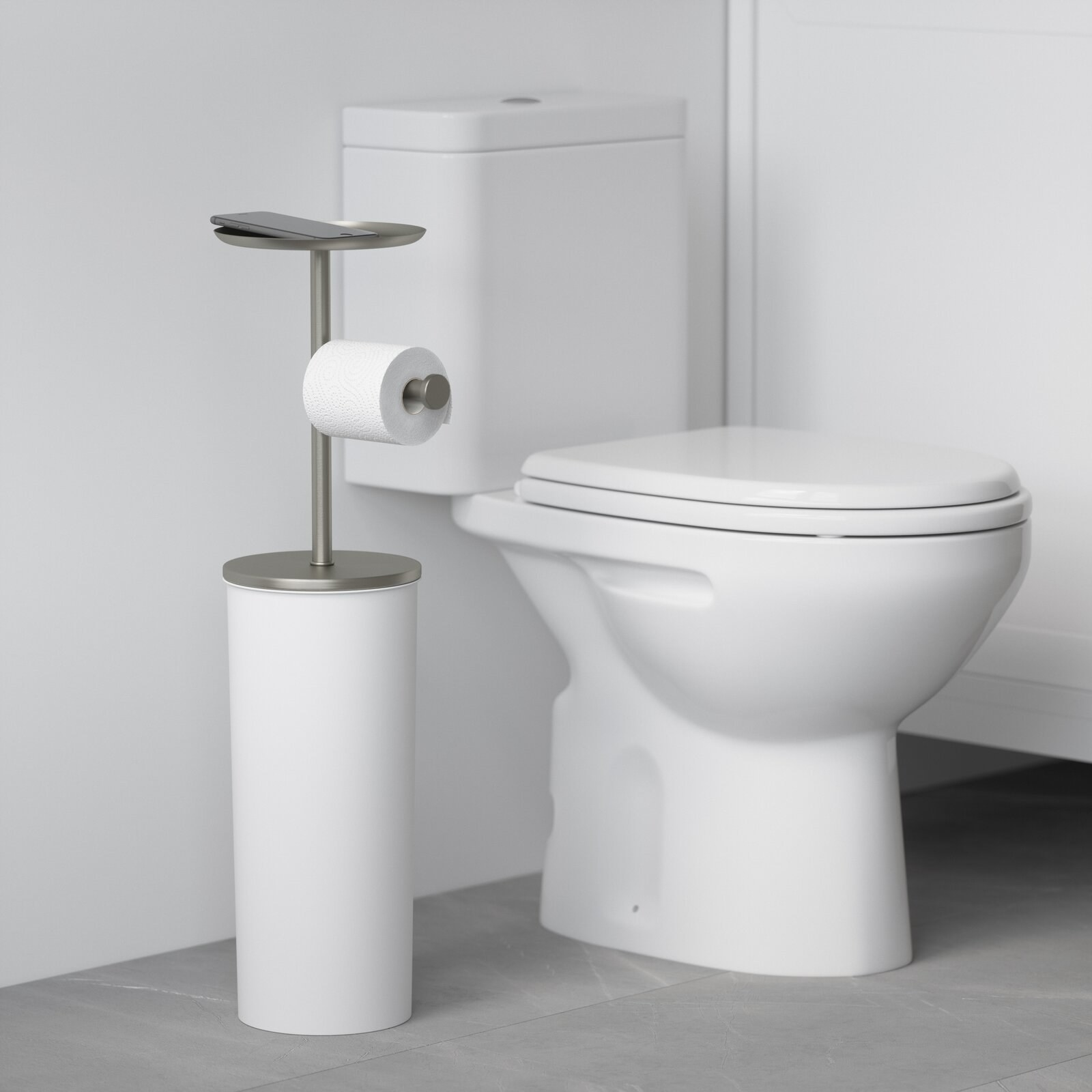 The stand next to a toilet