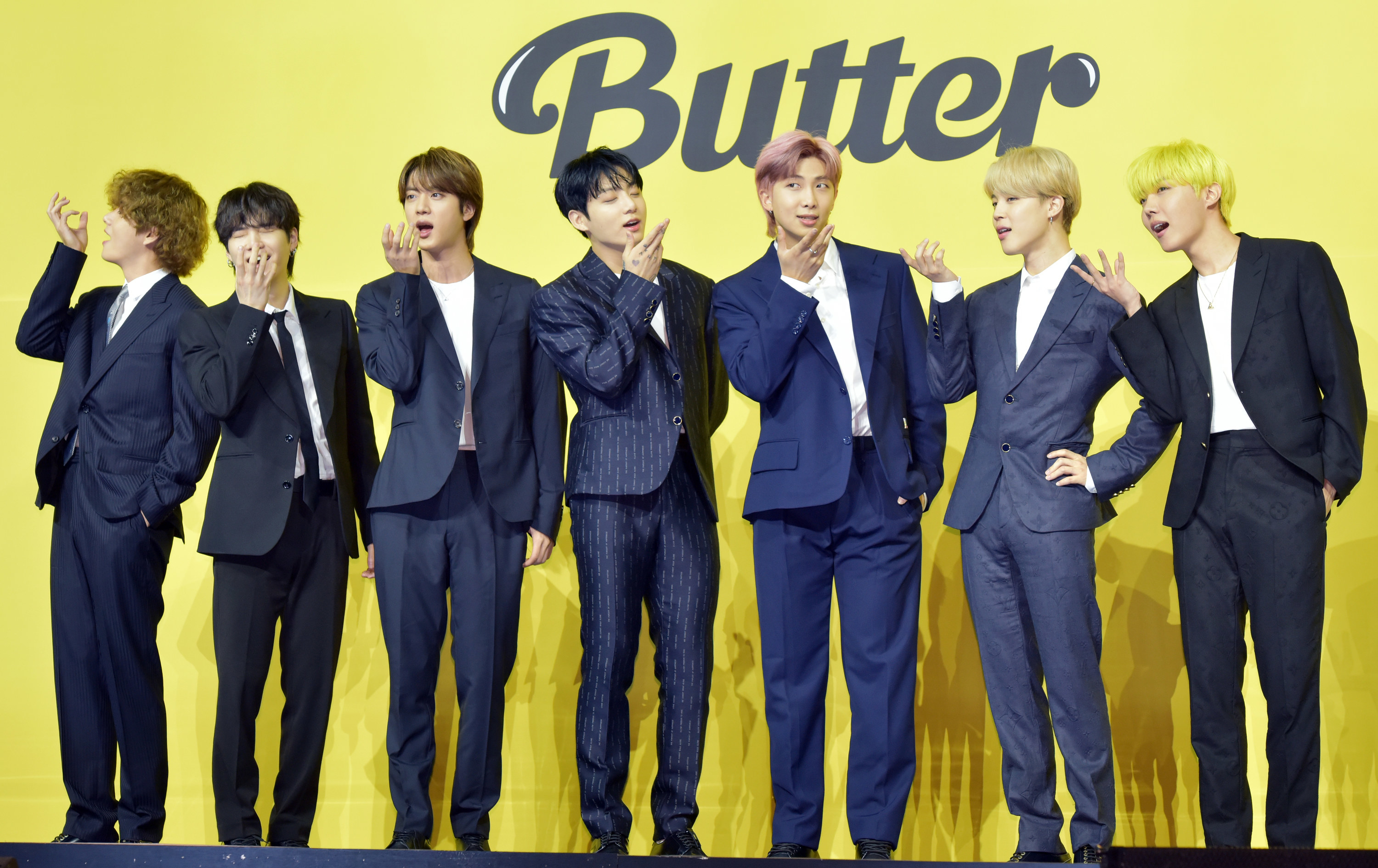 BTS attends a press conference for BTS's new digital single 'Butter' at Olympic Hall