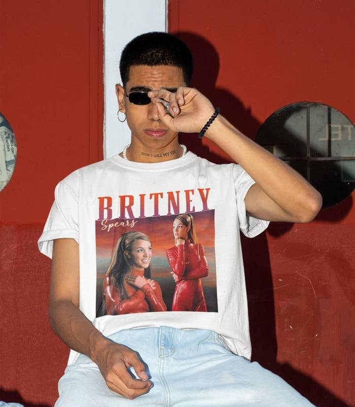 a person wearing a britney spears t-shirt