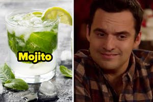 A glass of a Mojito; Nick Miller from