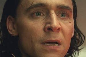 Loki looking shocked and upset
