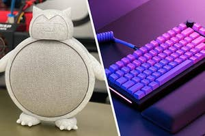 to the left: a snorlax cover for a speaker, to the right: an ombre keyboard