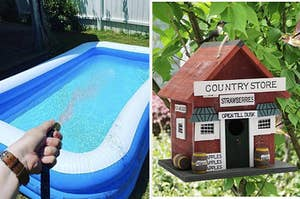 to the left: an inflatable pool, to the right: a birdhouse