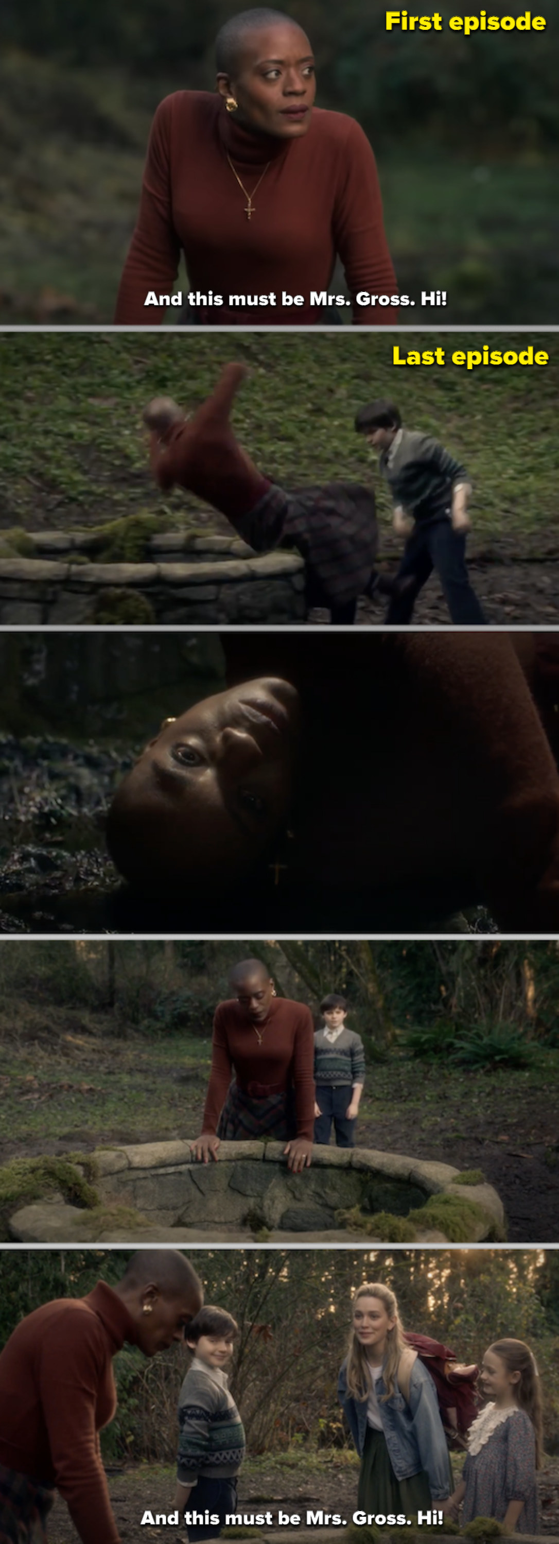 Hannah being pushed down the well and then staring at her body