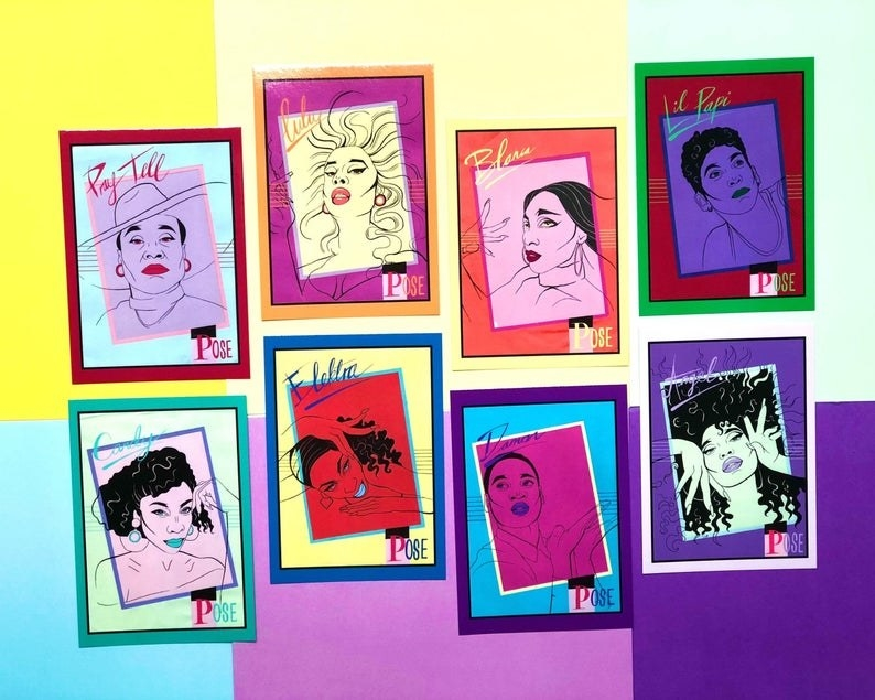 the postcard set which is illustrated in a pop art style. Each card has the face of one cast member.