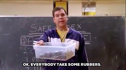 PE coach teaching sex education and handing out condoms