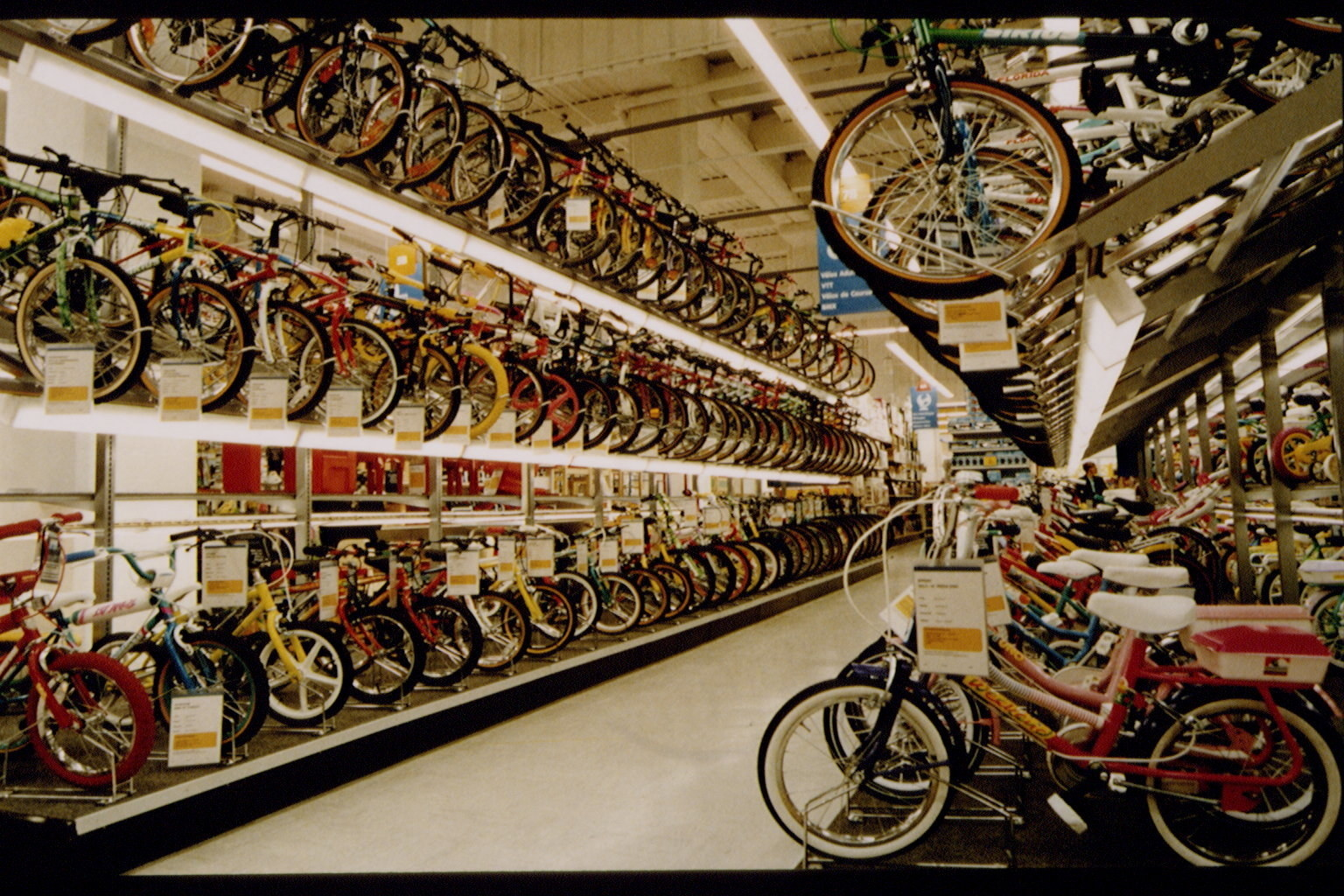 Photo of the bike aisle at Toys R Us in the early 90s