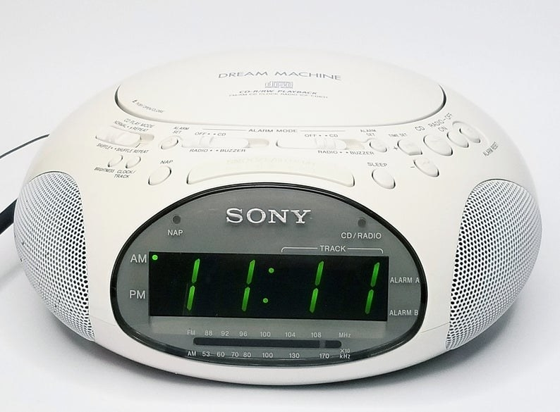 A white Sony Dream Machine alarm clock