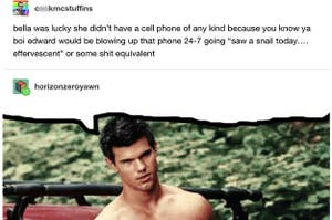 A tumblr post making fun of Edward from Twilight with a photo of Jacob Black underneath making it look like he said the original post