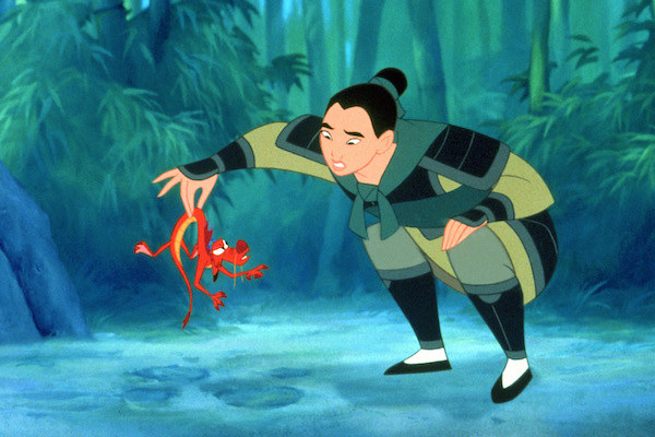 Mushu (voiced by Eddie Murphy) does not like getting held by Mulan (voiced by Ming-Na Wen).