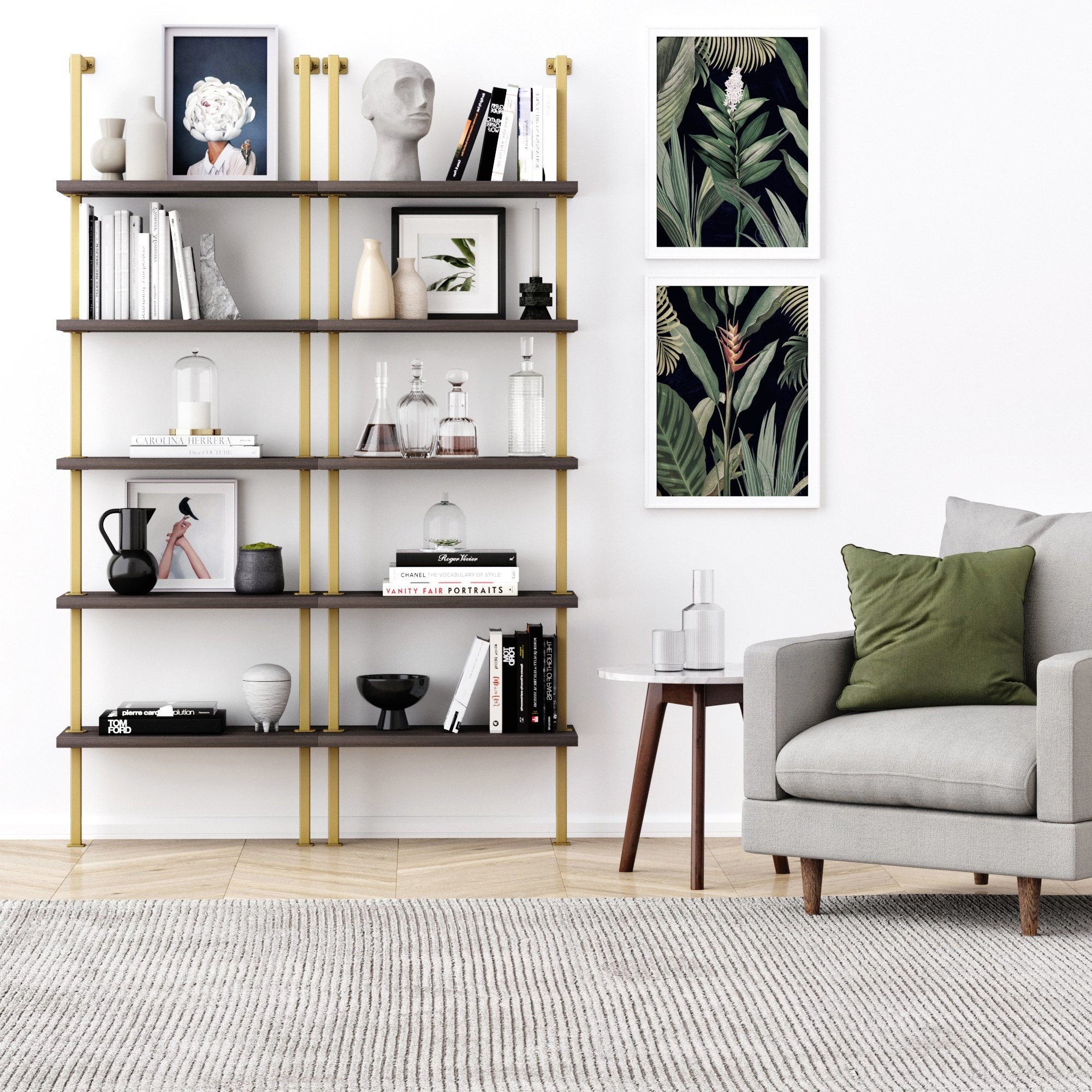two ladder wall mounted bookcases with wooden shelves and gold frame