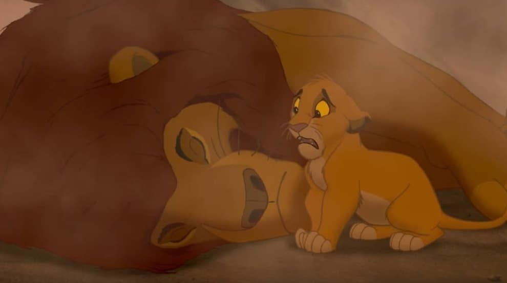 Screenshot of Simba trying to wake a dead Mufasa in The Lion King