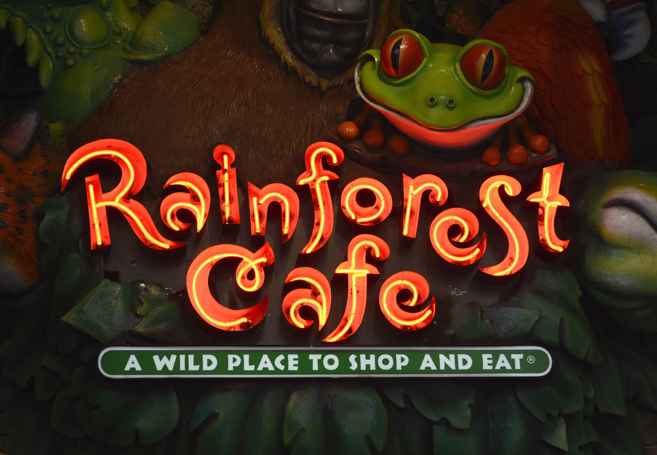 A sign for the Rainforest Cafe