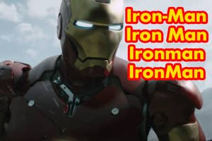 Iron Man with four variations of the spelling of his name
