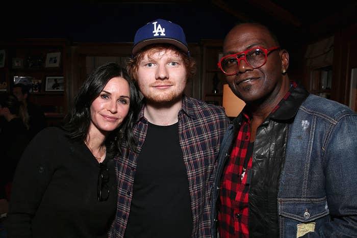 (L-R) Courteney Cox, Ed Sheeran, and Randy Jackson attend Rock4EB! 2015