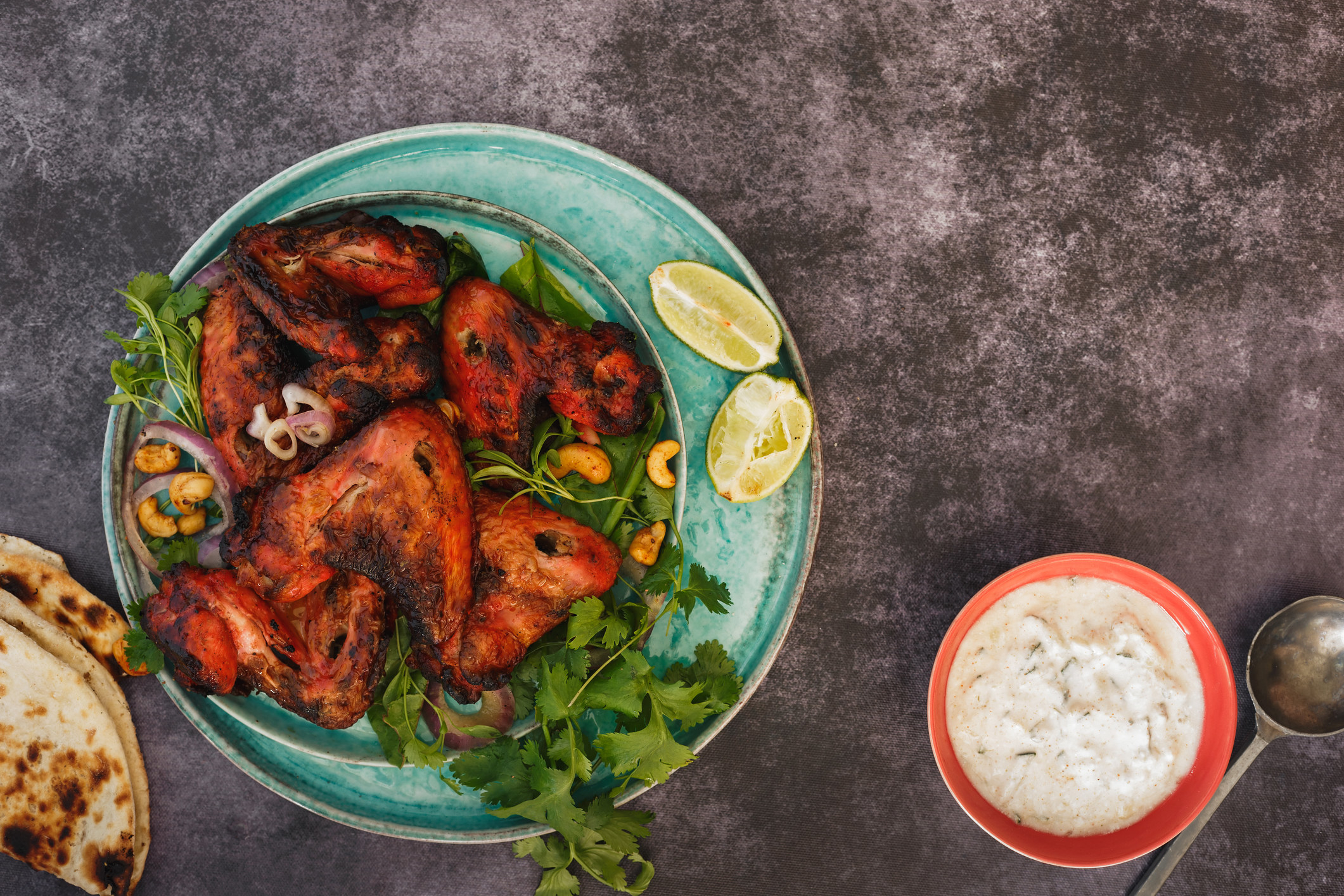 Spicy, roasted chicken wings marinated in an authentic Tandoori sauce