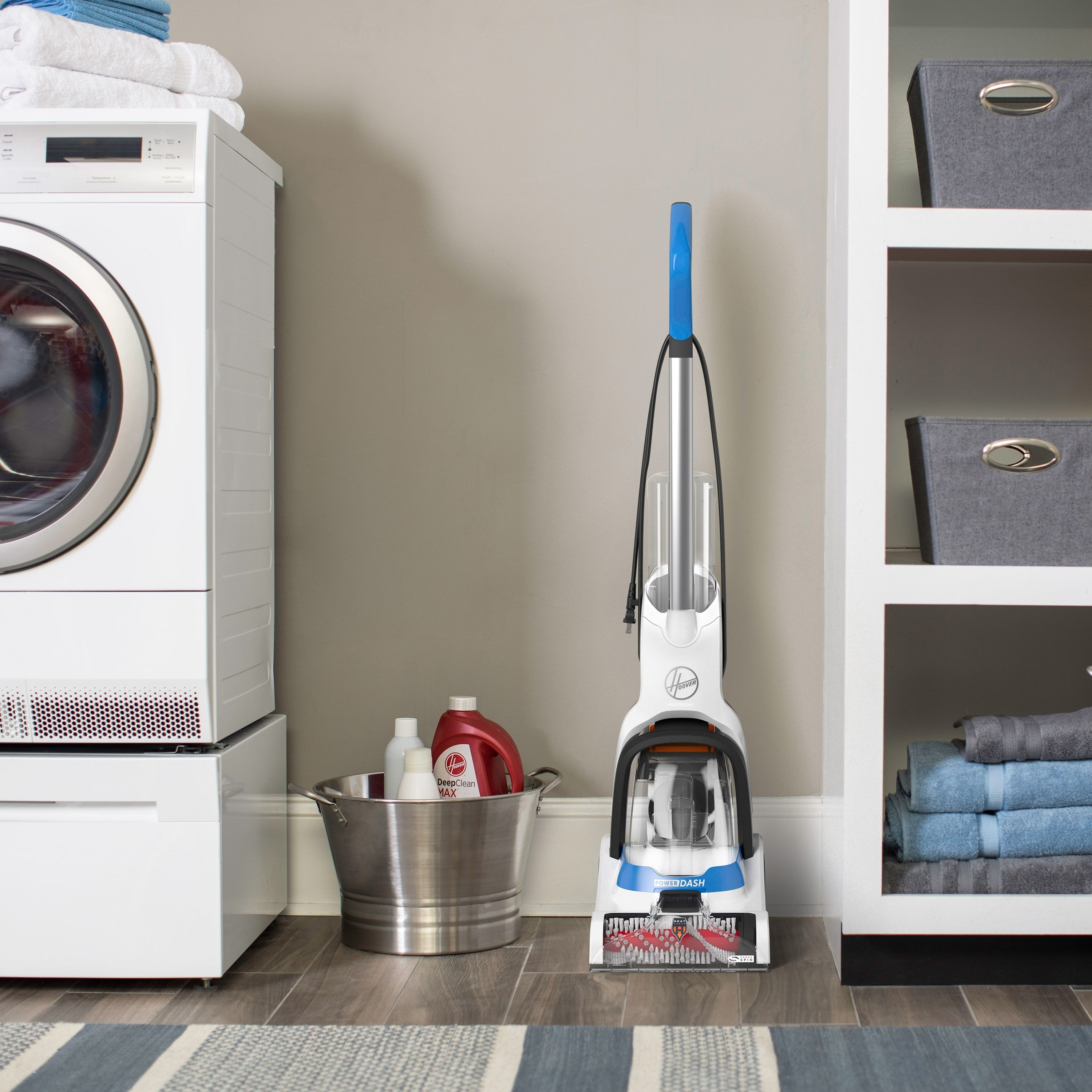 Hoover pet cleaner in a laundry room