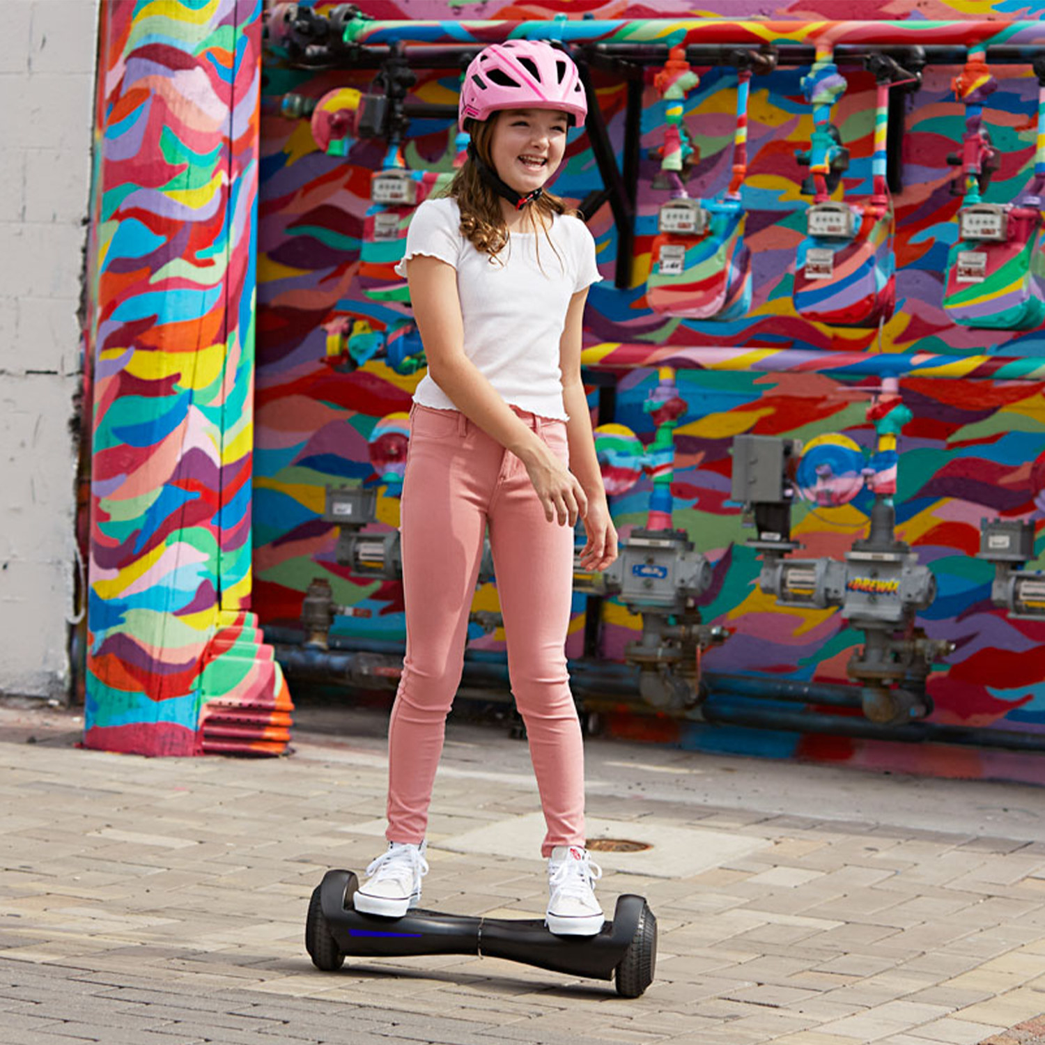 model riding on the hoverboard in black