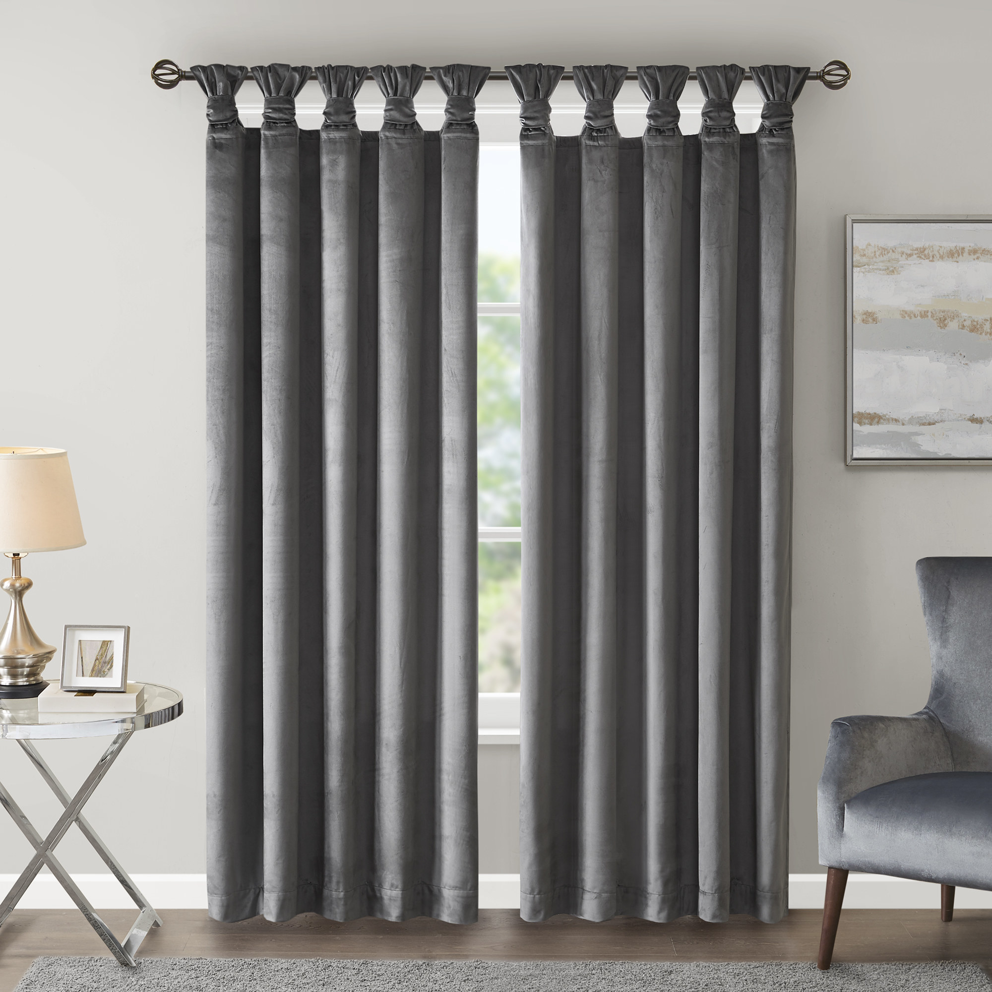 silky curtains styled in a living room