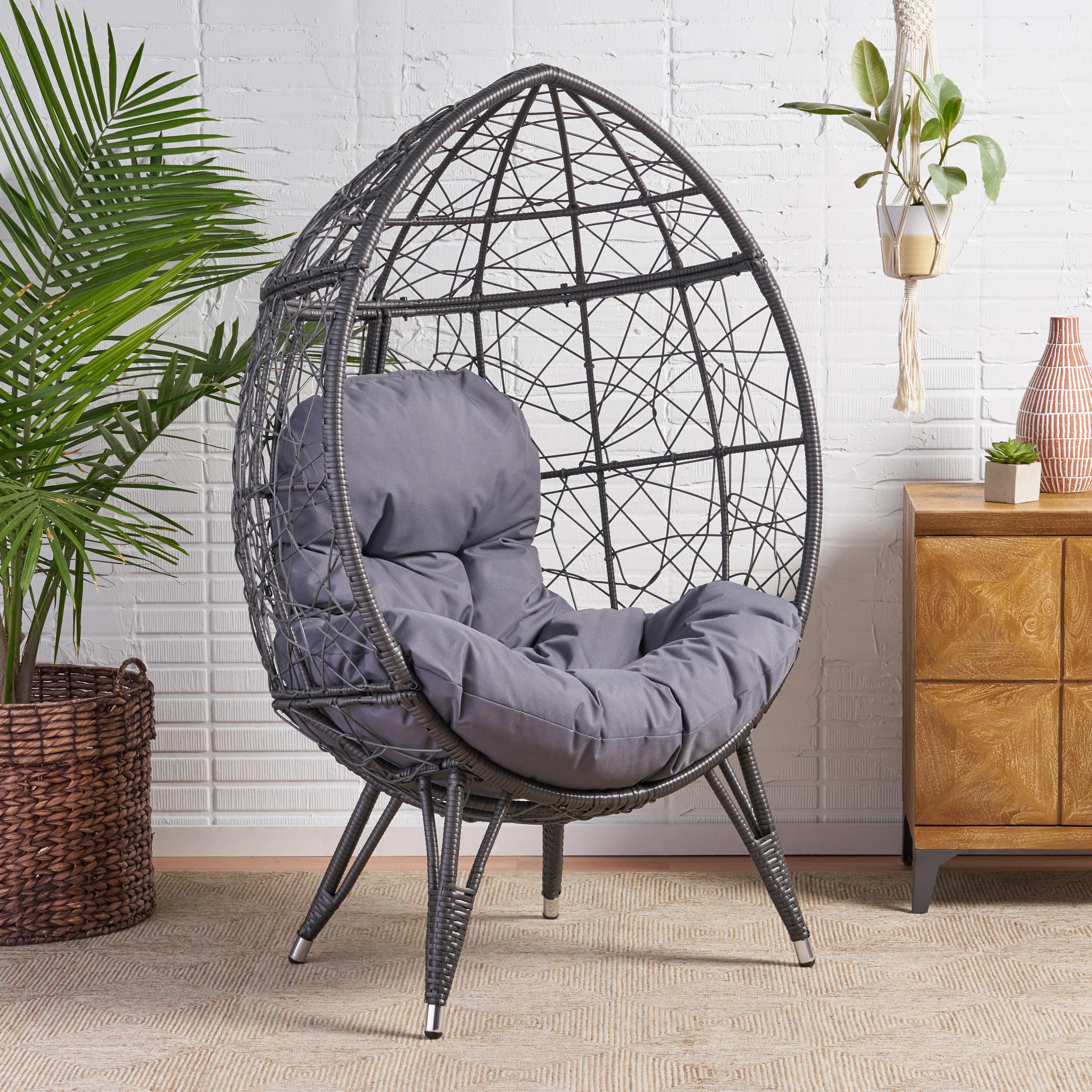 wicker teardrop chair in gray