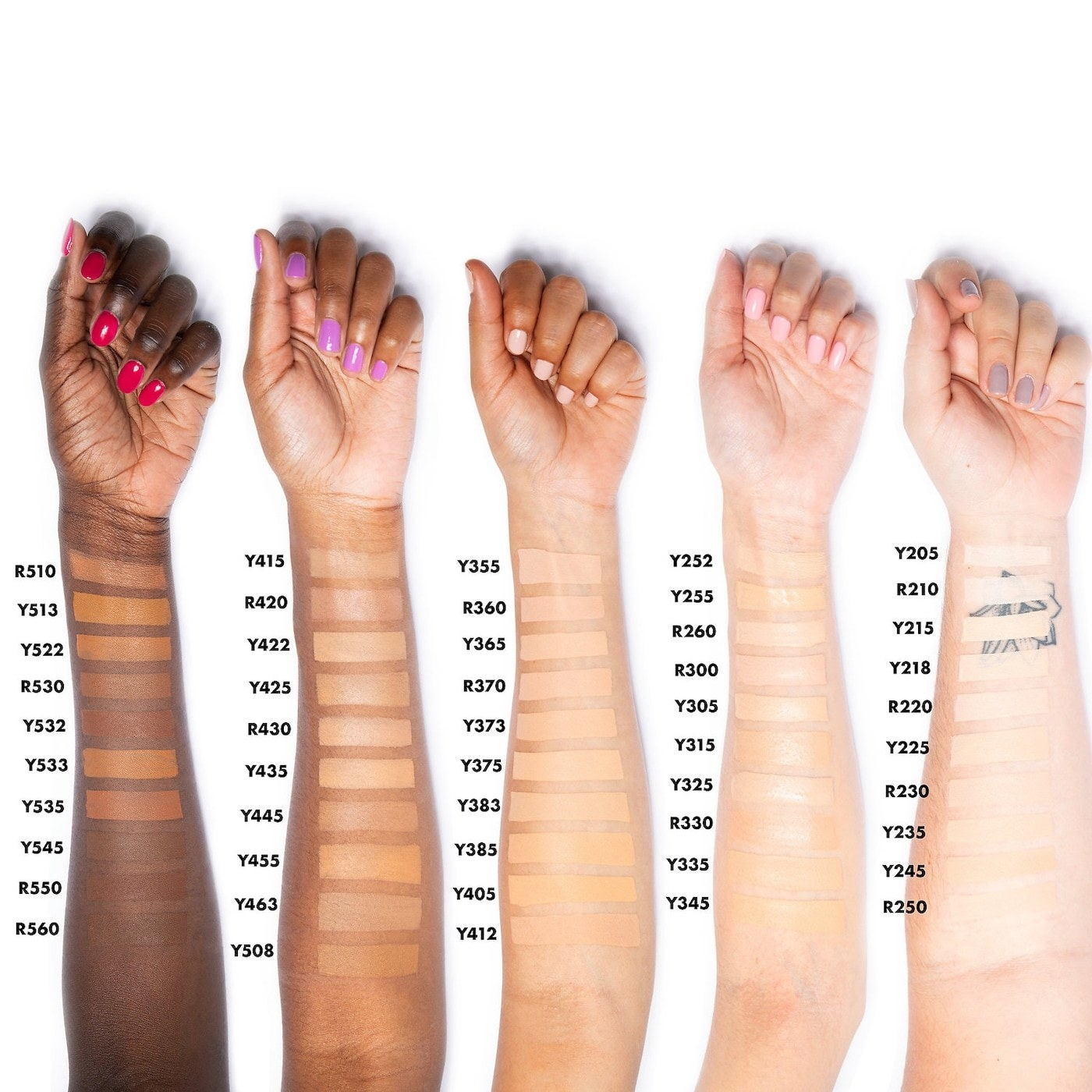 Swatches on skintones of every foundation shade