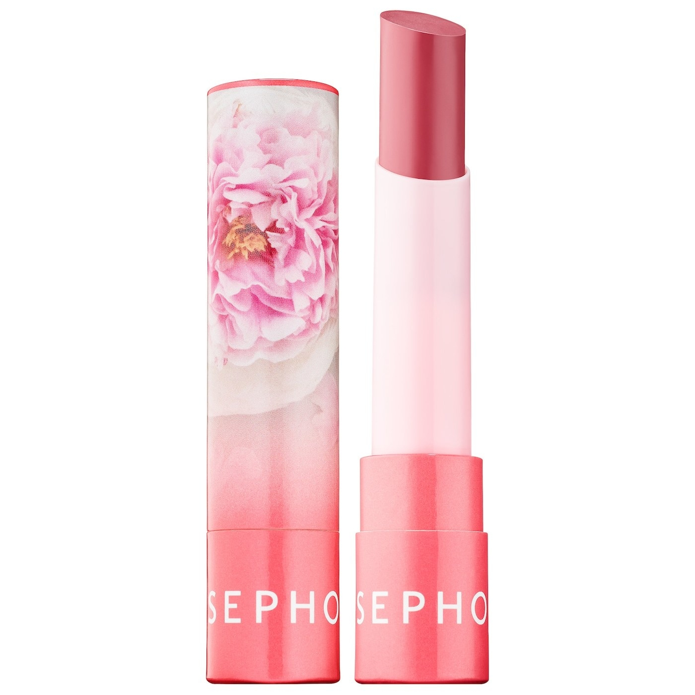 A pink lip balm with flowers