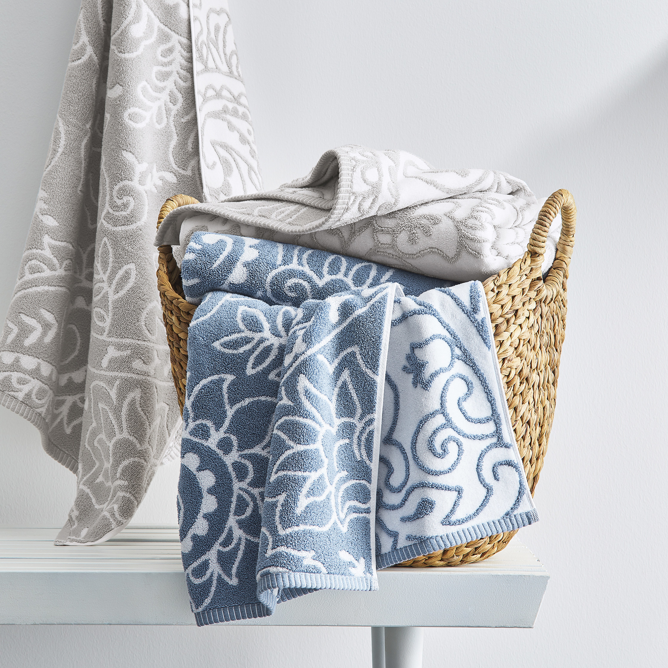 The floral printed towel in blue and gray