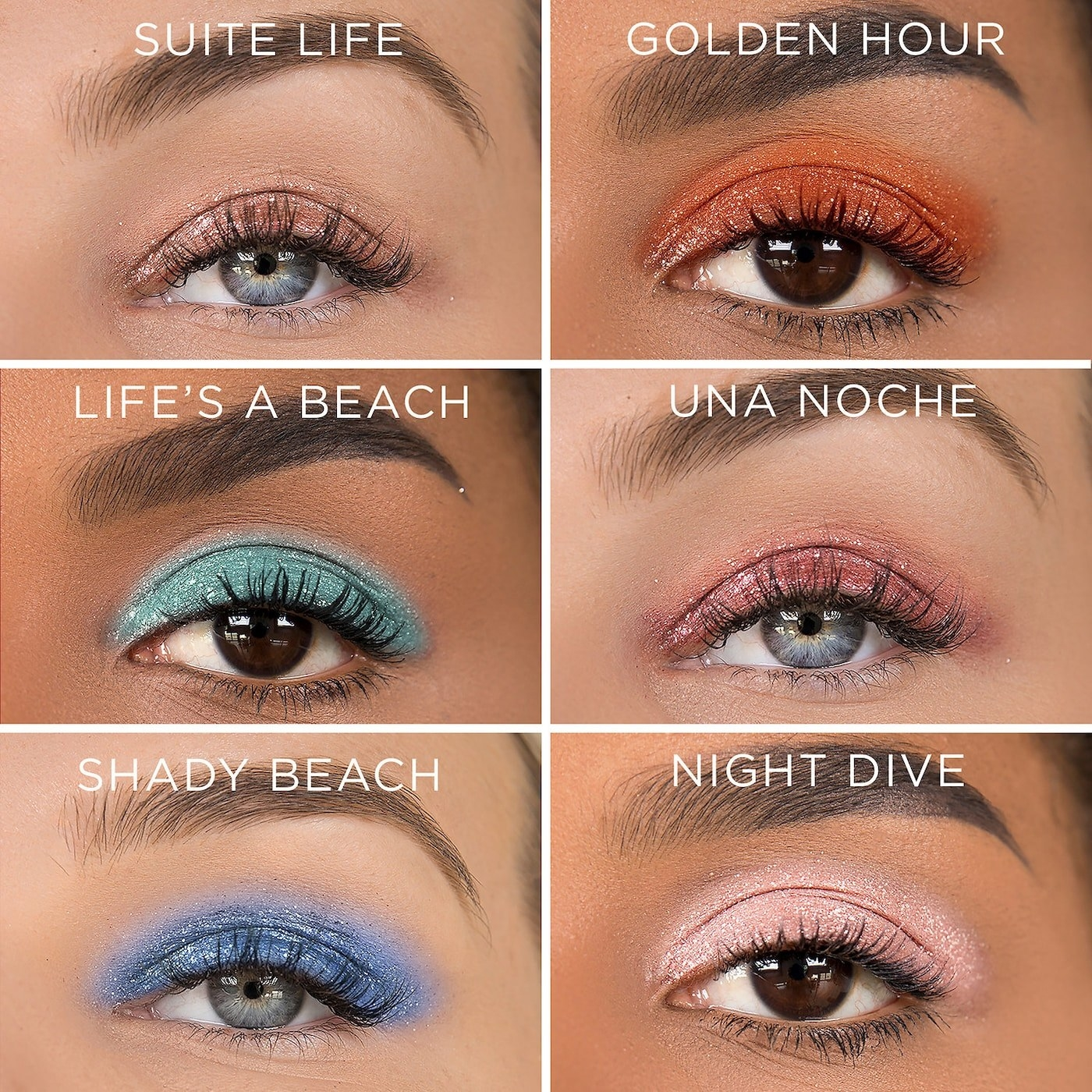Models wearing different shades from the palette