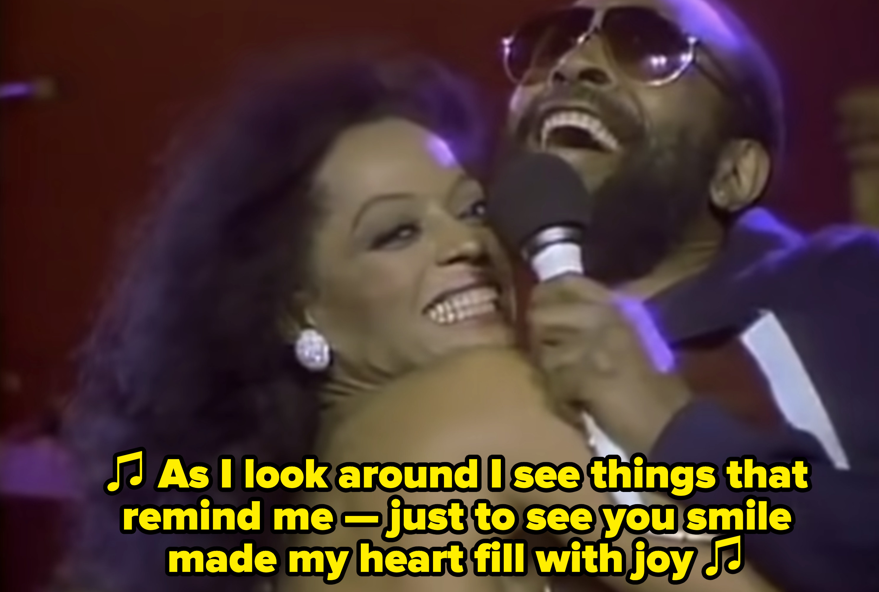 Diana Ross and Marvin Gaye performing together in concert in the early '80s