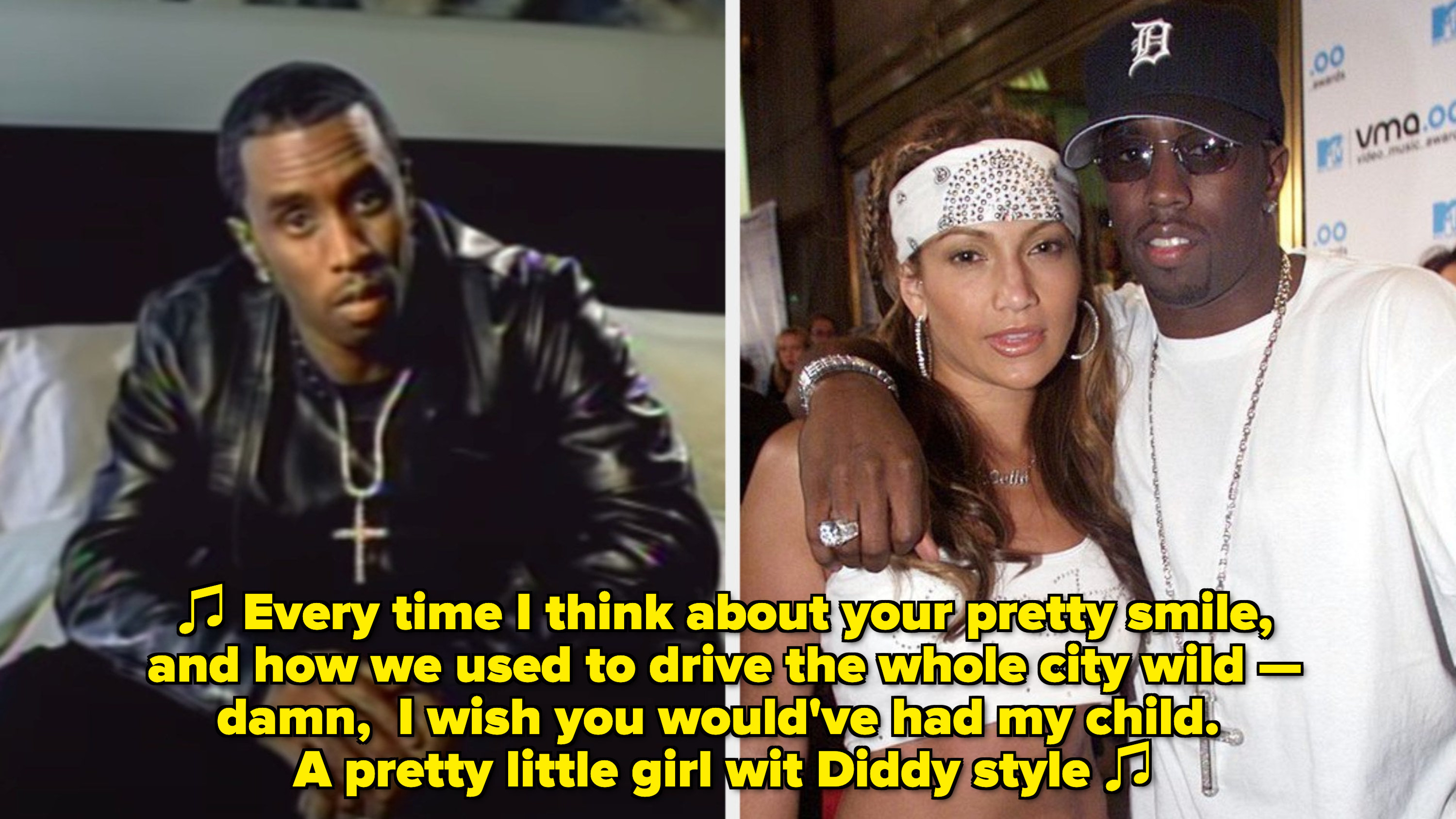 """Diddy in his """"I Need a Girl (Part One)"""" music video; Jennifer Lopez and Diddy at the 2000 MTV Awards"""