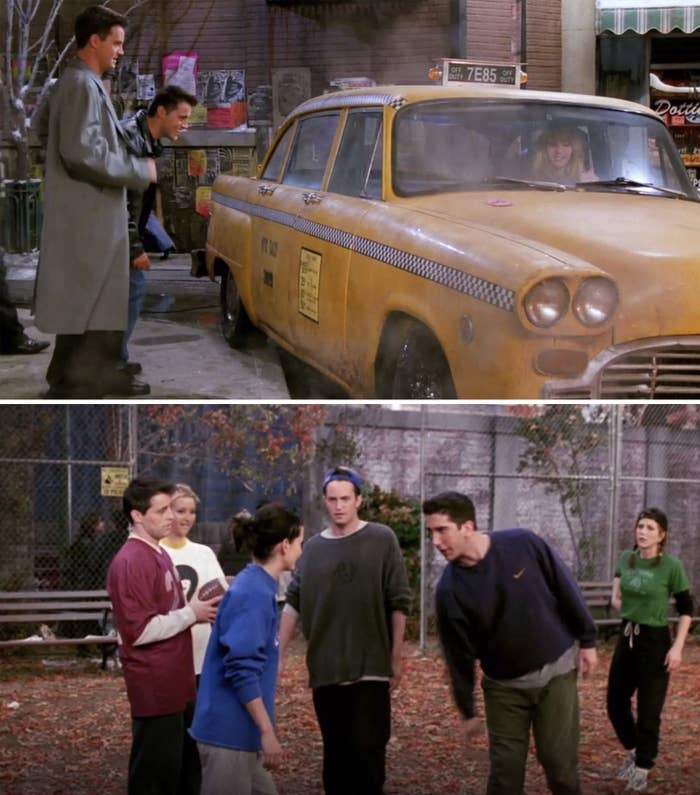 Chandler and Joey getting into Phoebe's taxi and the gang playing football