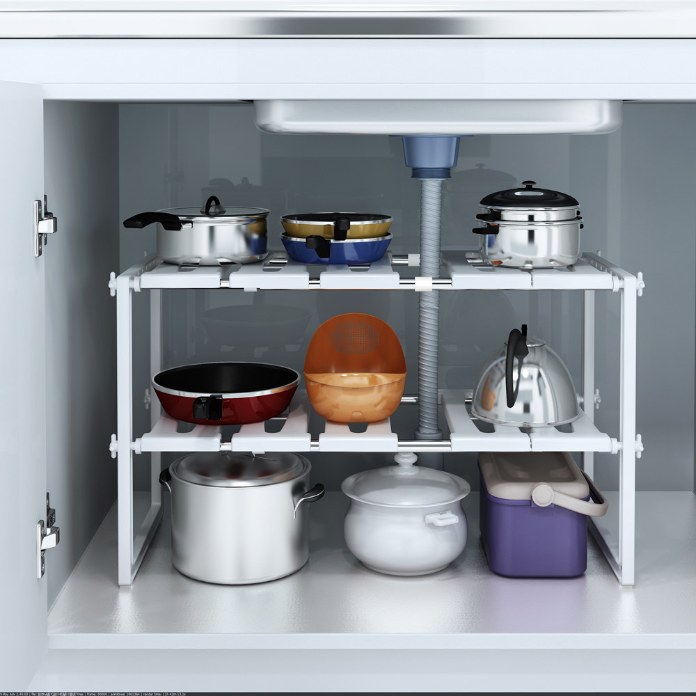 storage rack with pots and pans on it in a cabinet