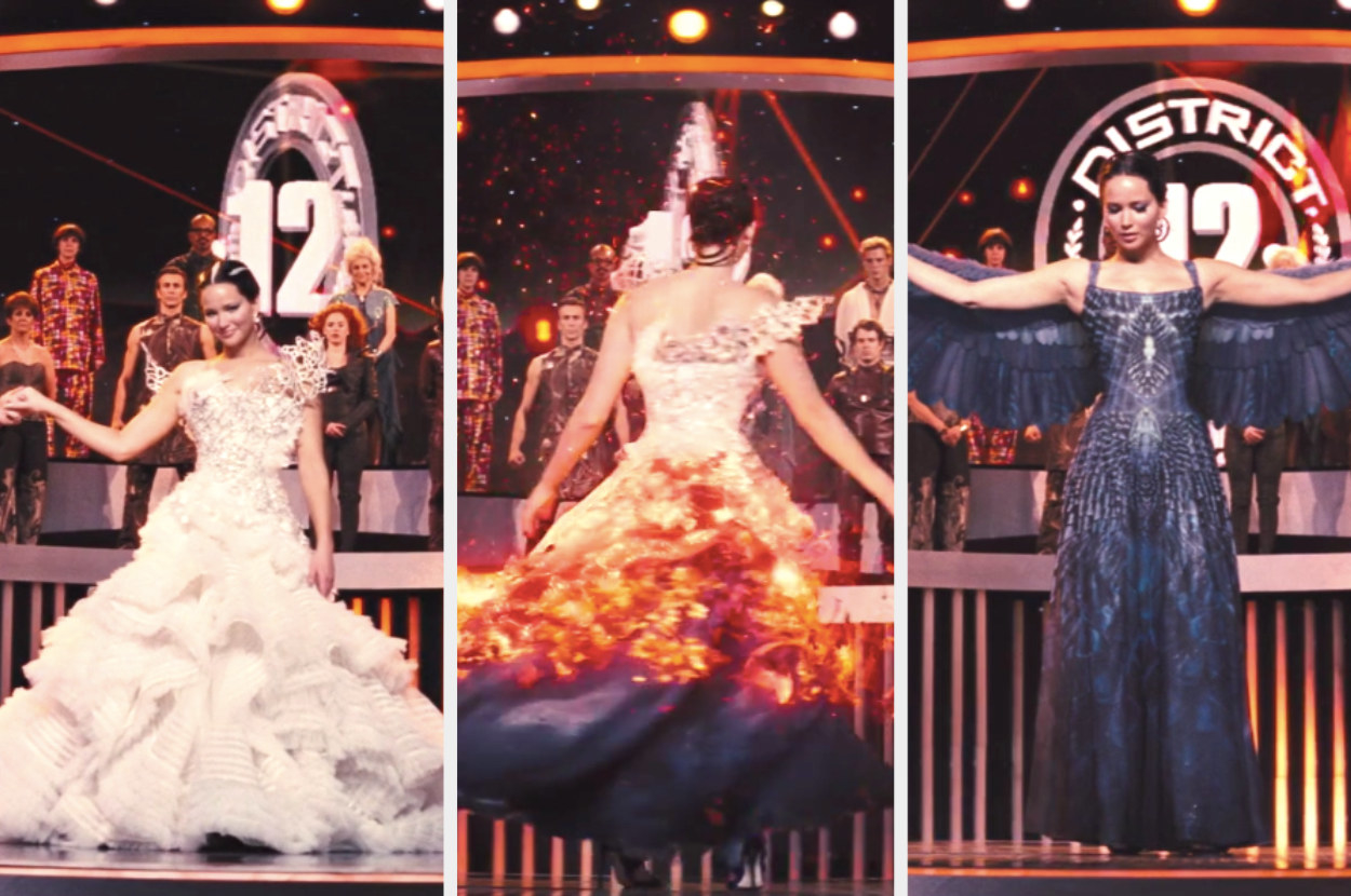 Katniss in an elaborate wedding dress, then she spins and the dress morphs through fire to become a dress with wings