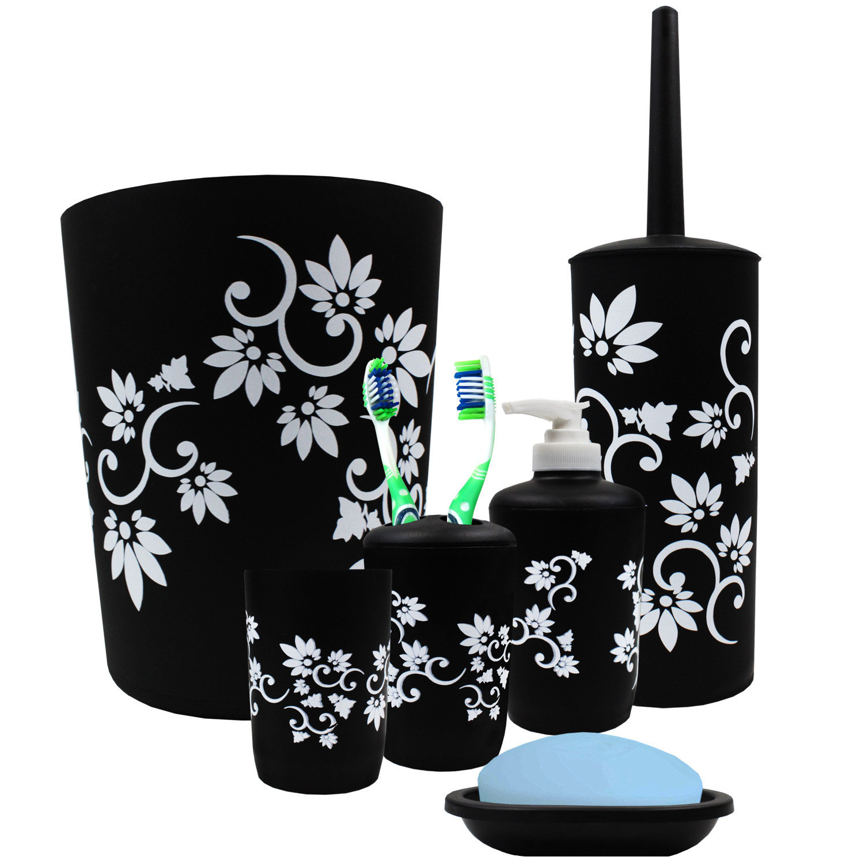 A seven-piece bathroom accessories set