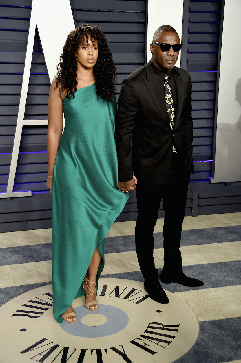 Sabrina and Idris attend the 2019 Vanity Fair Oscar Party at Wallis Annenberg Center for the Performing Arts in Beverly Hills