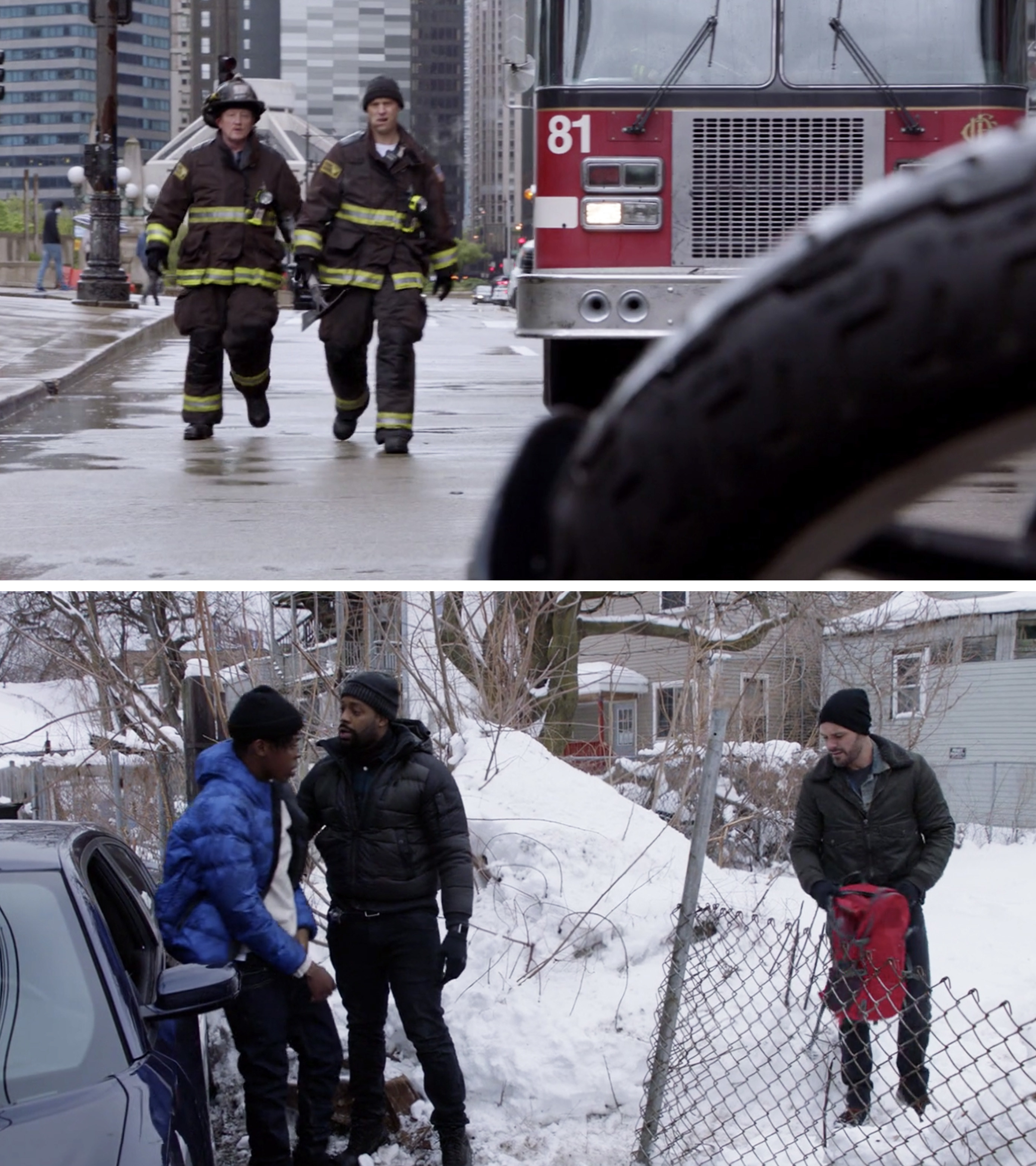 The cast of Chicago Fire filming on the street and the Chicago PD cast filming in the snow