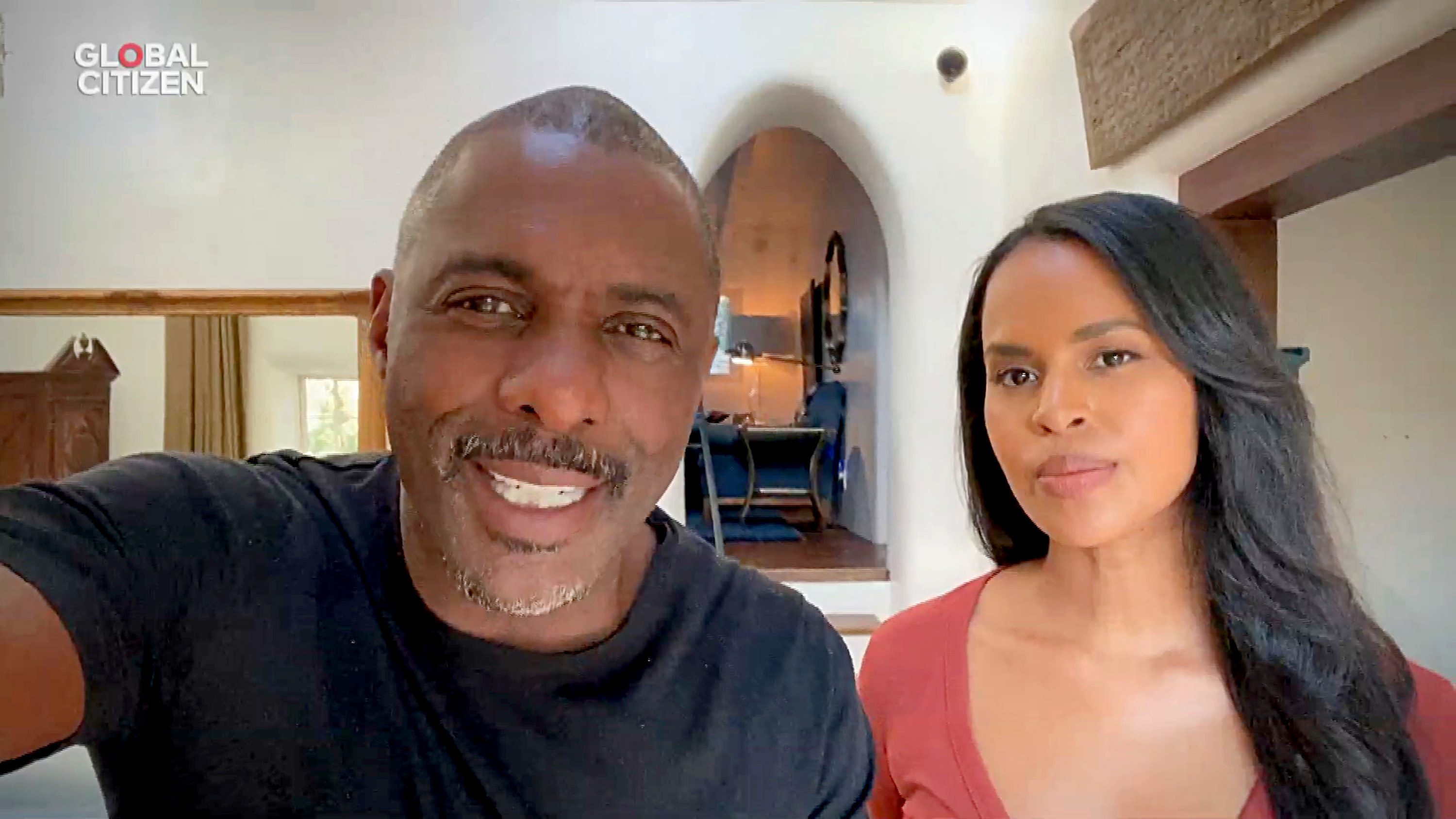 """In this screengrab, Idris Elba and Sabrina Elba speak during """"One World: Together at Home"""" presented by Global Citizen"""