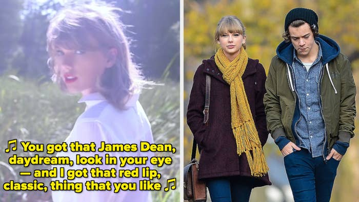 """Taylor Swift in her """"Style"""" music video; Swift and Harry Styles walking together in New York City in the early 2010s"""